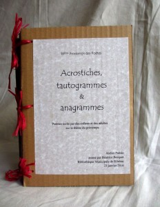 Atelier Poésie BM RBC 2016 02 06 Acrostiches tautogrammes anagrammes couv 1 red
