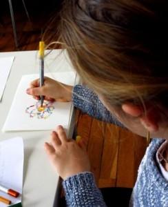 RBC BM Atelier de poésie J dessinant son calligramme 2red 2016 03 05
